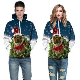 Wholesale Fleece Dog Sweaters - Fashion Women Men Christmas Sweatshirt Dog Digital Printing Hooded Sweater Large Size Loose Lovers Baseball Clothing