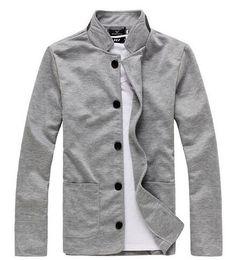 Wholesale Gray Denim Jacket Men - New fashion men's pure cotton slim fit business suit Men's leisure Blazers Men's joker coat Men's jackets knitted M-XXL 3 Colors sportswear