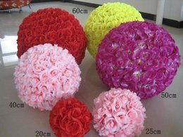 Wholesale Encryption Rose Ball Wedding Decoration - New Artificial Encryption Rose Silk Flower Kissing Balls Large Hanging Ball Christmas Ornaments Wedding Party Decorations
