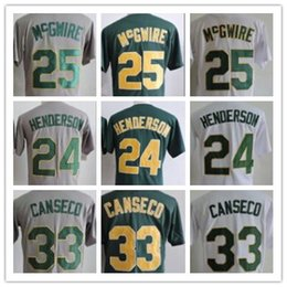 Wholesale Oakland Baseball Jersey - Retro Oakland 1989 Throwback 24 Ricky Henderson 33 Jose Canseco 25 Mark McGwire Home Away White Green Grey Vintage Baseball Jerseys