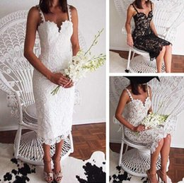 Wholesale Sexy Crochet Dresses For Women - New Club Dresses For Women Solid Color European Fashion Style Black White Lace Crochet Dress Slim Strap Spaghetti Dress
