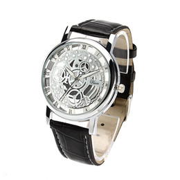 Wholesale Watches For Men Imitation - Brilliant Skeleton Dial imitation Mechanical quartz Sport Watch for Men Hollow Transparent Dial with Leather Band Strap Gold silver dial