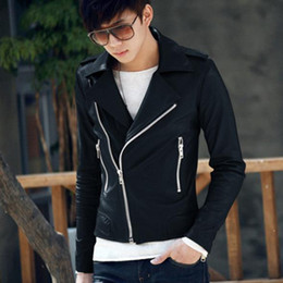 Wholesale punk rock leather jacket men - Fall-best price for Handsome Men's Rock Punk Faux Leather Zipper Stand Collar Jacket Outerwear
