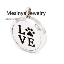 Wholesale Plain Perfume - 10pcs Round mesinya plain dog paw pet love (30mm) Aromatherapy   Essential Oils Stainless Steel Perfume Diffuser Locket Necklace