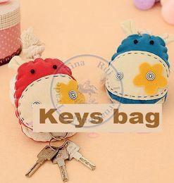 Wholesale Push Keychain - Wholesale-key rings storage wallets case lady girls keychain holder bag cartoon cute animal Draw and push wholesale