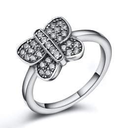 Wholesale Silver Butterfly Rings For Women - 925 Sterling Silver Rings Finger Butterfly Clear Zircon For Women Ring Wedding Party Birthday Timeless Elegant Fashion Jewelry
