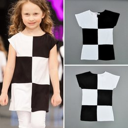 Wholesale Cheap Brand Clothes For Kids - Retail girls formal dress 2015 summer style Short sleeve children Dresses Black white Plaid dress for girl kids clothes cheap 201505HX