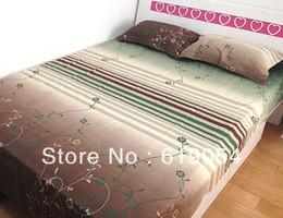 Wholesale Design Flower Bedding - Wholesale-Promote sales 100% cotton satin bed sheet 3pcs set with green classical flower design