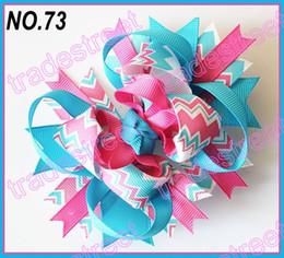 Wholesale Boutique Chevron Bows - free shipping 30pcs 4.5'' chevron hair bows boutique hair bows layered corker bows