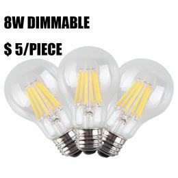 2019 iluminación de la fábrica de la vendimia Venta de fábrica 8W Dimmable LED bombillas de filamento, E27 A19 Edison Style Vintage lámpara de base, 800LM blanco cálido 2700K, 80W incandescente Reemplazo iluminación de la fábrica de la vendimia baratos