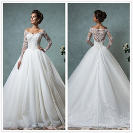 Wholesale Long Train Organza - 2016 New Amelia Sposa Long Sleeves Lace A Line Wedding Dresses V Neck Organza Floor Length Bridal Gowns