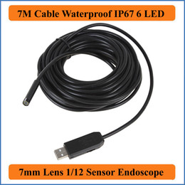 Wholesale Inspection Scope Tube - 7M Cable Length 7mm Lens Waterproof Mini USB Endoscope Inspection Pipe Camera Borescope Tube Snake Scope With 6 LEDs Night Vision industrial