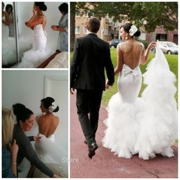 Wholesale Short Wedding Dress Long Tail - omantic Bow Back Long Tail Satin Mermaid Wedding Dresses Open Back Bride Dress 2016 Sexy Wedding Gowns