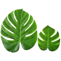 Wholesale Artificial Silk Tree - Artificial Leaf 35x29cm Tropical Palm Leaves Simulation Leaf for Hawaiian Luau Theme Party Decorations Home garden decor DIY TREE