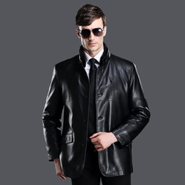 Wholesale Leather Suit For Motorcycle - Fall-Winter Outdoor Warm Men's Leather Coat Suit Styles Mink Fur Collar Motorcycle Leather Jackets For Male Snow Leather & Suede
