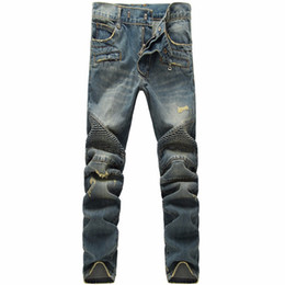 Wholesale Nwt Mens Slim - Wholesale-NWT BM Paris famous brand Hole Slim jeans men Spliced denim mens jeans ripped denim biker jean Casual pants vaqueros pantalones