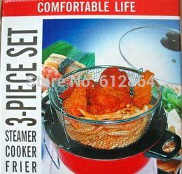 Wholesale Stainless Steel Ceramic Cooker - Free shipping Fryer Pan steamer Flat Bottom Pot Mini Non Stick Frying wok 26cm Fire Gas Cooker Cast Iron Glass Ceramic Hob