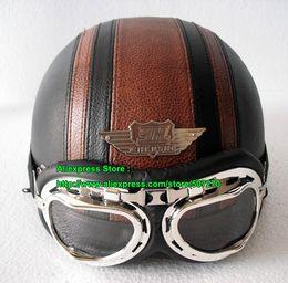 Wholesale Helmet Bol - Wholesale-PP#11 Free Shipping YH-998 Leather Bol Open Face OFF Road Motorcycle Black & Coffee Brown Stripe Helmet & UV Clear Glasses