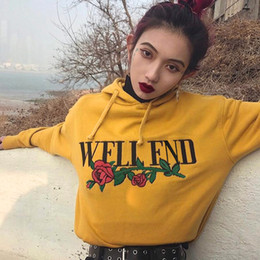 Wholesale Girl S Dress Hoodie - Yellow Sweatshirts for Girls With Printed Flowers Women's Hoodies Long Sleeve Regular Length Winter Warm Casual Dresses