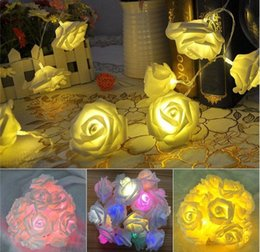 Wholesale Flowers Batteries Lights - New Arrivals 3 x AA battery lights 20 LED Rose Decorative Flowers Fairy String Lighting Lamps Home Party Decor Free Shipping