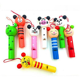 Wholesale Wooden Whistles Wholesale - Wooden Cartoon Animal Whistle Party Cute Noise Maker Baby Kids Educational Toys Musicial Instrument Toy OOA3606