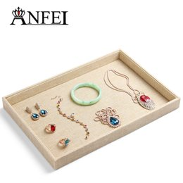 Wholesale Linen Necklace Stands - New style Yellow high-grade linen Jewelry Display Tray Rin empty Earring Display Stand necklace & blacelet & earrings & rings plate