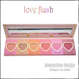 Wholesale Price Hours - Hot Makeup Face Blush Love Flush Blush Wardrobe Heart Shaped Palette 6 Colors Lasting 16-hour Blush Factory Price Free Shipping