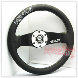 "Wholesale Race Rings - NEW!!Universal Textured VELOCE 13"" 320MM Real Leather Racing Steering Wheel w BLACK SILVER Horn Ring"