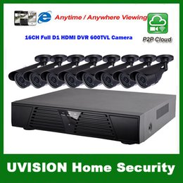 Wholesale Kit Full D1 Dvr - HDMI 16ch full d1 DVR Kit CCTV System 8pcs 600TVL Waterproof IR outdoor Cameras 16ch Security Camera system 8pcs 18m cctv cable