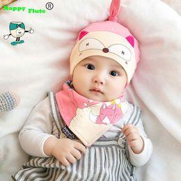 Wholesale Girl Cartoon Hot Fox - Wholesale- Happyflute 2 pcs   set Hot Sale Newborn Hats bibs Baby Boy Girls Cap toddler Infant Lovely fox design