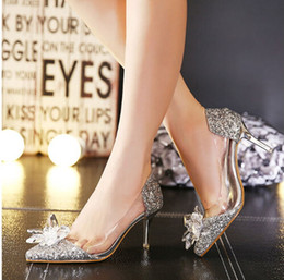 Wholesale Silver Beaded Heels - Wedding Shoes Cinderella Crystal Transparent Sandals High Heel 8cm Silver   Gold Prom Shoes Rhinestones Summer Bridal Shoes 2017
