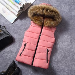 Wholesale Winter Clothes Designs For Women - New Design Fur Collar Women Vest Down Hooded Waistcoat Winter Autumn Jacket Sleeveless Coat For Female Casual Clothes