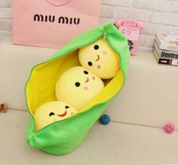 Wholesale Stuffed Peas Pod - 3 Peas in a Pod Plush Toy Stuffed Animal Soft Doll Bean Bag