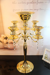 Wholesale metal candle sticks - H75cm * W48cm, Gold color 5 Heads Crystal Candelabra, Candle Holder, wedding Centerpiece, flower bowl Candle holder with pendants