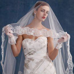 Wholesale Muslim Bridal Gloves - Elegant Two Pieces Long Bridal Veils And Full Finger Gloves Ivory Lace Piping 2Metre Wedding accessories Shining Brides Veils Long Tulle WWL