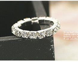 Wholesale Elastic Crystal Toe Rings - 2015 New Rhinestone Finger Rings Silver Crystal Toe Elastic Ring