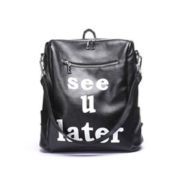 Wholesale Cross Backpack - black backpack bag 2017 winter new designer famous brand bag pu leather letter scholl bag high quality