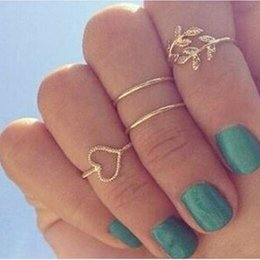 Wholesale Wholesale Stacking Rings - Wholesale- 3pcs set gold crystal love heart rings femme stacking charm leaf midi knuckle ring set for women anel anillos