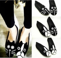 Wholesale Dog Velvet Shoes - Free Shipping 2016 Women's shoes personality the cat dog shoes velvet flat comfortable flats shoes