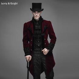 gotische trenchcoats Rabatt Großhandels-Gentleman Velvet Gothic Barock Vintage viktorianischen Trenchcoat Winter Jacke Tail Coat RED CT02202