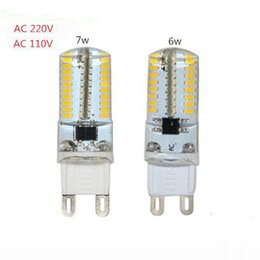 Wholesale G9 Halogen Lamp Light Bulb - Dimmable Mini G9 Silicone Body LED Lamp 220V 110V 6W 7W 3014 SMD LED Crystal Silicone Candle Light Replace 20W-50W Halogen Bulb