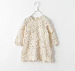 Wholesale Girls Long Sleeved Lace Dress - Lady Style Fashion Hollowed Flower Lace Girls Long Sleeve Princess Dress Childrens Clothing A6859