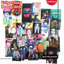 Wholesale El Decals - 54 Pcs Vulgar Sexy beauty Girls Stickers Laptop Motorcycle Skateboard Doodle DIY Sticker Home decor Toy styling Television Decal
