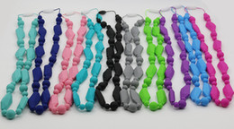 Wholesale Baby Blue Necklace - Free Shipping silicone teething chewing necklace Baby Necklace Silicone Teething jewelry