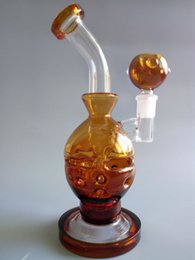 Wholesale Amber Bowl - Glass Fab Egg Glass Bong 9 inches Amber Skull Bong Water Pipe Glass Dab Two Function Dry Bowl Oil Rig Carb Cap