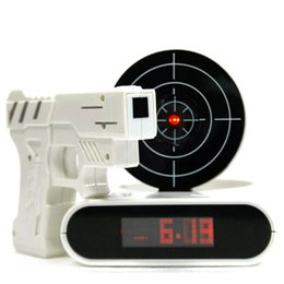 Wholesale Toy Guns Lasers - Novelty Gun Alarm Clock Gun O'clock Shooting Game Cool Gadget Toy Novelty with Laser Target With Retail Package Free Shipping
