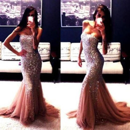 Wholesale Scalloped Strapless Mermaid Dress - Strapless Mermaid Prom Dresses Blue Spring Summer Backless 2015 Sleeveless Sweep Train Sequined Tulle Lower Back Long Prom Gowns