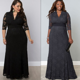 Wholesale Dress For Fats - Plus Size Evening Gowns Sleeves Black Grey Lace Long Full Length 2016 Night Dresses For Fat Women Maxi Sizes Casual Special Occasion Dress