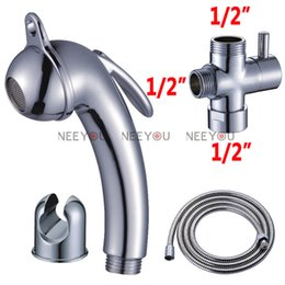 "Wholesale Brass Hand Bidet - Free Shipping Soft Flow Chrome Bidet sprayer gun Toilet flusher G1 2"" Brass T-adapter + ABS pressurize Spray Shattaf Hand Shower +150cm Hose"