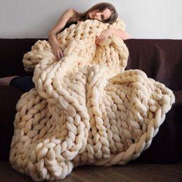 Wholesale Wholesale Wool Fiber Yarn - High quality polyester fiber Warm Chunky Knited Blanket Thick Woven Yarn Merino Wool Bulky HandCraft Kinit Throw Photograph Blanket 16 color